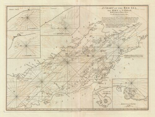 1794 Laurie and Whittle Nautical Map of the Red Sea from Moka to Geddah (Mecca)