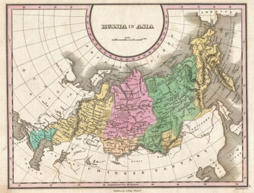 1827 Finley Map of Russia in Asia