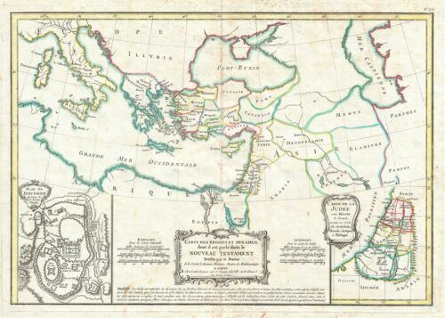 1783 Bonne Map of the New Testament Lands, w/ Holy Land and Jerusalem