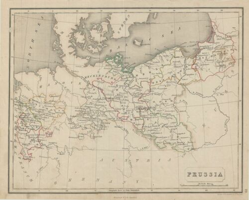 1845 Chambers Map of Prussia, Germany