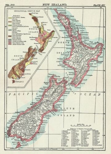 1884 Encyclopedia Britannica Map of New Zealand