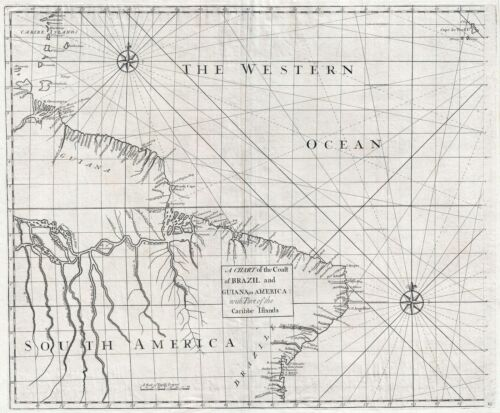 1728 Senex and Halley Map of Brazil