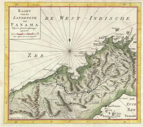 1765 Isaak Tirion Map of Panama