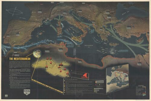 1944 Navy Education Services Map of the Mediterranean and North Africa