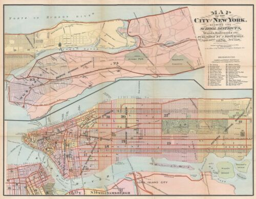 1876 Disturnell City Map or Plan of New York City Illustrating School Districts