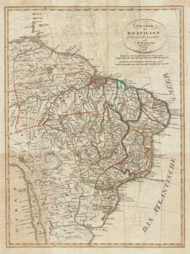 1822 Franz Pluth Map of Brazil