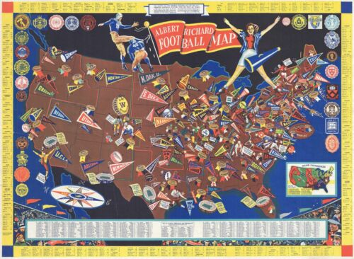 1940 Albert Richard Pictorial Map of the United States College Football Teams