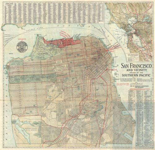 1914 Southern Pacific Railroad City Map or Plan of San Francisco, California