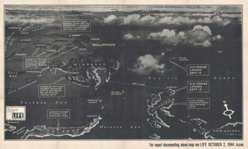 1944 Kautzky Map of the Philippines and Indonesia for Life Magazine