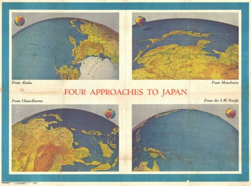 1944 Army Information Branch Newsmap of the Approaches to Japan