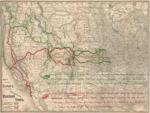 1888 Crofutt Map of he Western United States w/ railroad tours