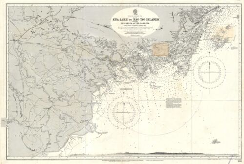 1926 Admiralty Nautical Map of North Vietnam: Hanoi, Ha Long Bay