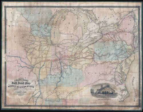 1858 J. Sage Railroad Map of the Middle Atlantic and Midwestern States