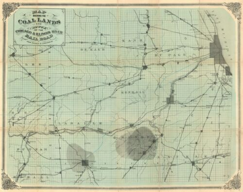 1870 Chicago and Illinois River Rail Road Map of the Coal Fields west of Chicago
