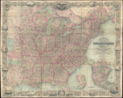 1862 J. Calvin Smith and Colton Folding Wall Map of the United States