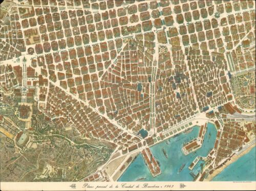 1963 Loeches and Navarro Pictorial Map of Barcelona, Spain