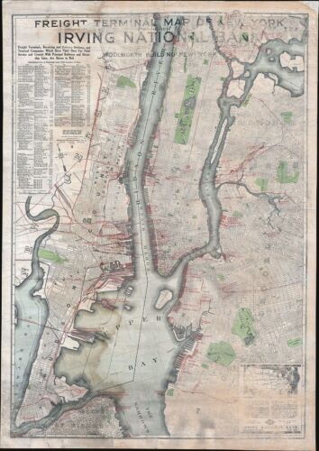 1916 Irving National Bank Map of New York City Freight Terminals