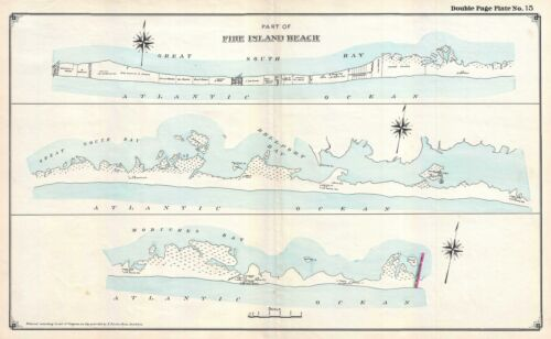1915 Hyde Map of Part of Fire Island, New York