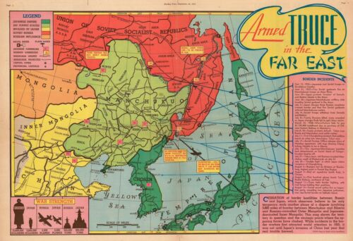 1938 Sundberg Pictorial Map of Fighting Between in East Asia Before WWII