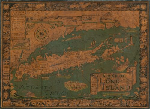 1961 Courtland Smith Pictorial Map of Long Island, New York