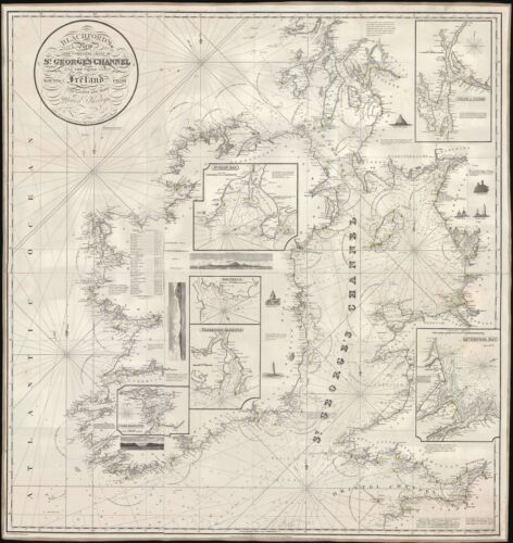 1834 Blachford Nautical Chart or Maritime Map of St. George's Channel