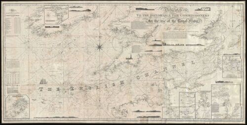 1843 Blachford Blueback Nautical Chart Map of the English Channel