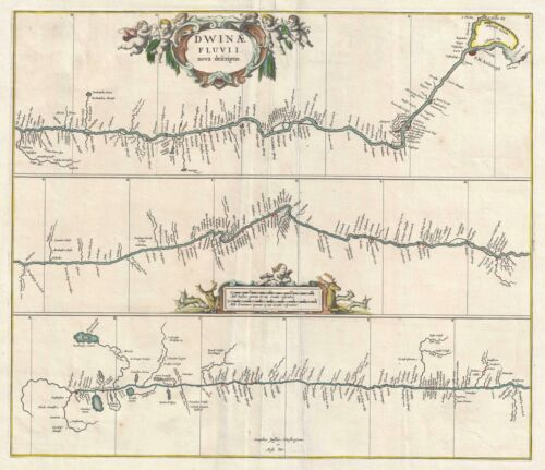 1680 Jansson Map of the Northern Dvina River in Russia
