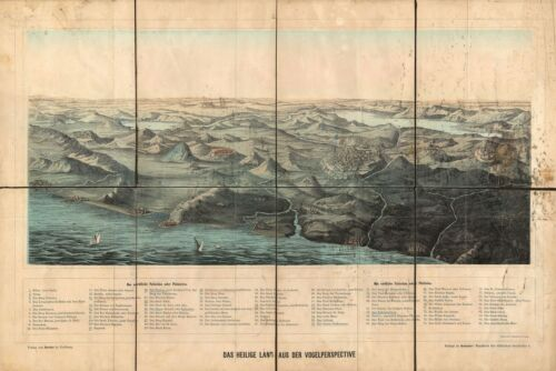 1890 Herder Map and View of the Holy Land / Israel / Palestine