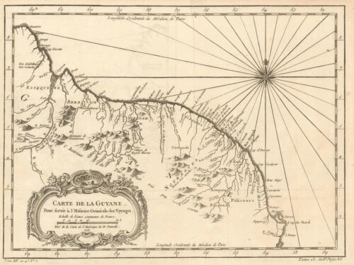 1757 Bellin Map of French Guiana and Suriname