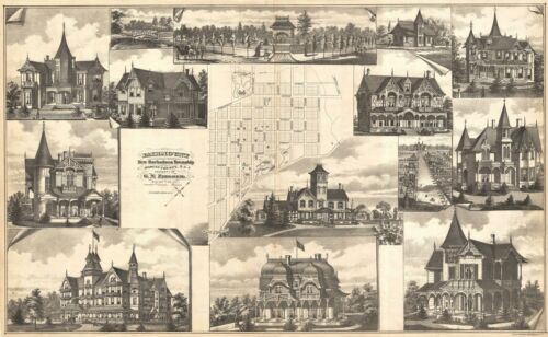 1876 Walker Map and Views of Fairmount, New Jesey