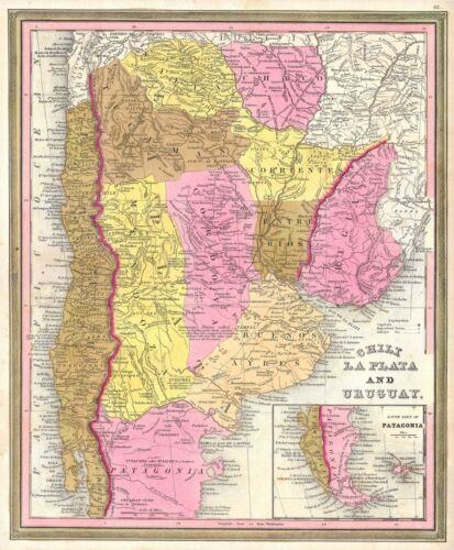 1846 Burroughs - Mitchell Map of Argentina, Uruguay, Chile in South America