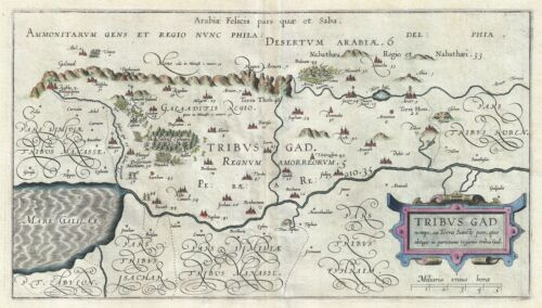 1590 Adrichem Map of the Tribe of Gad, Israel ( Sea of Galilee and lands south)