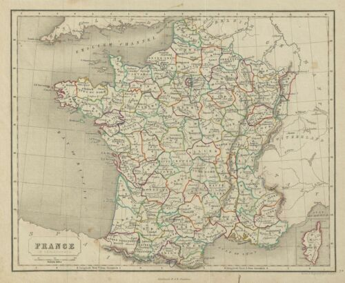 1845 Chambers Map of France in Departments