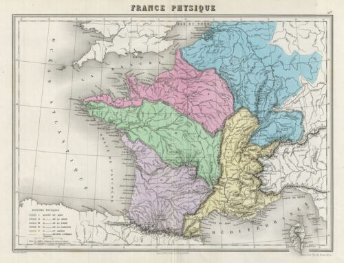 1878 Migeon Physical Map of France
