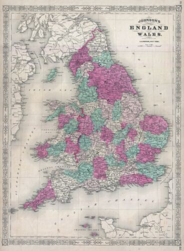 1867 Johnson Map of England and Wales