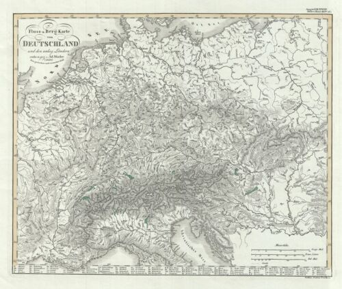 1846 Perthes Physical Map of  Germany