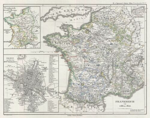 1854 Spruner Map of France from 1461 to 1610