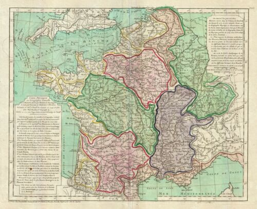 1770 Buache de Neuville Physical Map of France