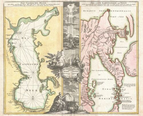 1725 Homann Map of the Caspian Sea and Kamchatka (as Yedso)