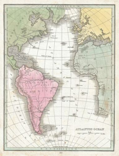 1835 Bradford Map of the Atlantic Ocean