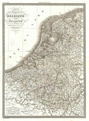 1833 Lapie Map of the Kingdom of Belgium and Holland