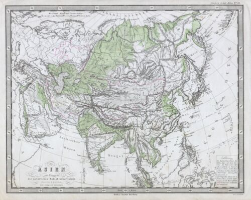 1862 Perthes Physical Map of Asia