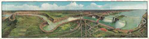 1910 Gies Company Pictorial Bird's Eye View or Map of the Niagara Falls