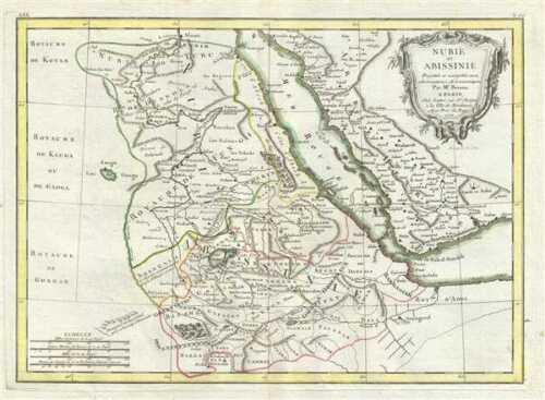 1771 Bonne Map of East Africa (Ethiopia, Sudan, Red Sea)