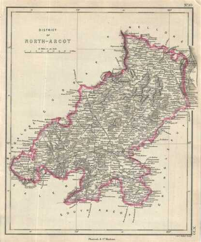 1854 Pharoah and Company Map of the District of North Arcot, Tamil Nadu, India