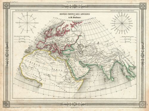 1852 Dufour Map of The Ancient World (Europe, Asia, Africa)