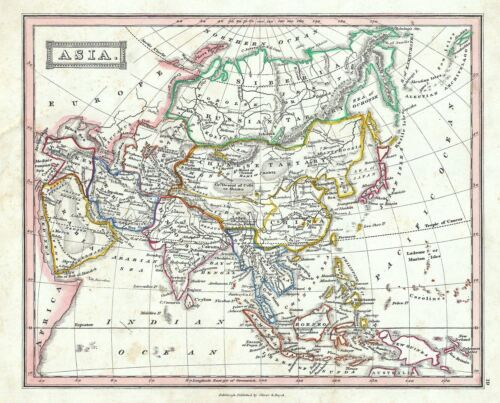 1845 Ewing Map of Asia
