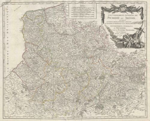 1753 Vaugondy Map of Picardy (Picardie) and Artois