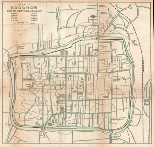 1921 Crow City Map or Plan of Suzhou, China