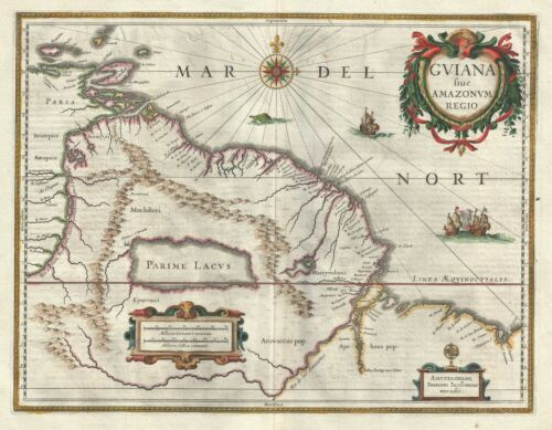 1635 Bleau Map of Guiana, Venezuela and El Dorado